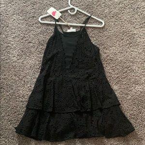 Black lace and mesh ruffled dress